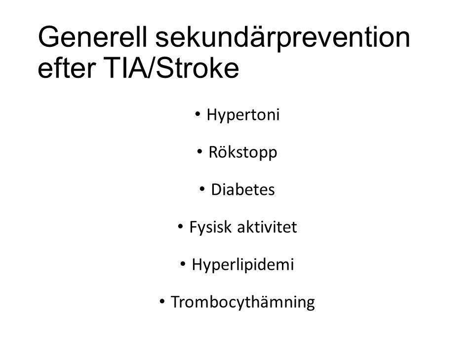 Generell sekundärprevention efter TIA/Stroke Hypertoni Rökstopp Diabetes Fysisk aktivitet Hyperlipidemi Trombocythämning