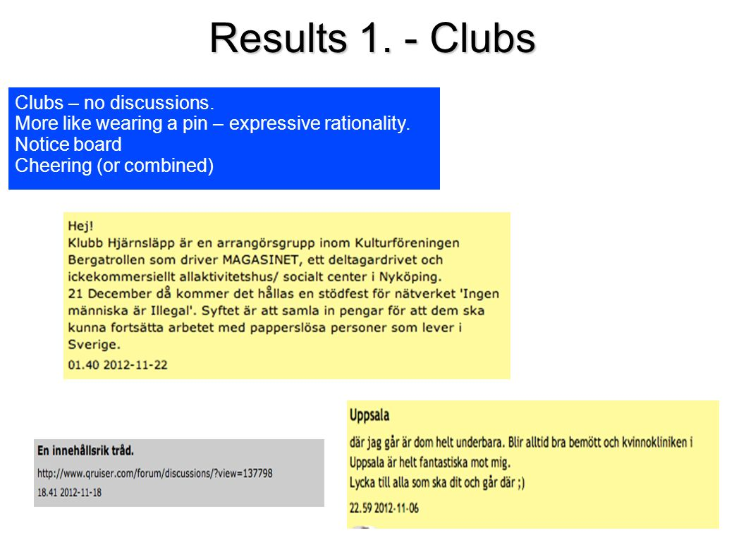 Results 1. - Clubs Clubs – no discussions. More like wearing a pin – expressive rationality.