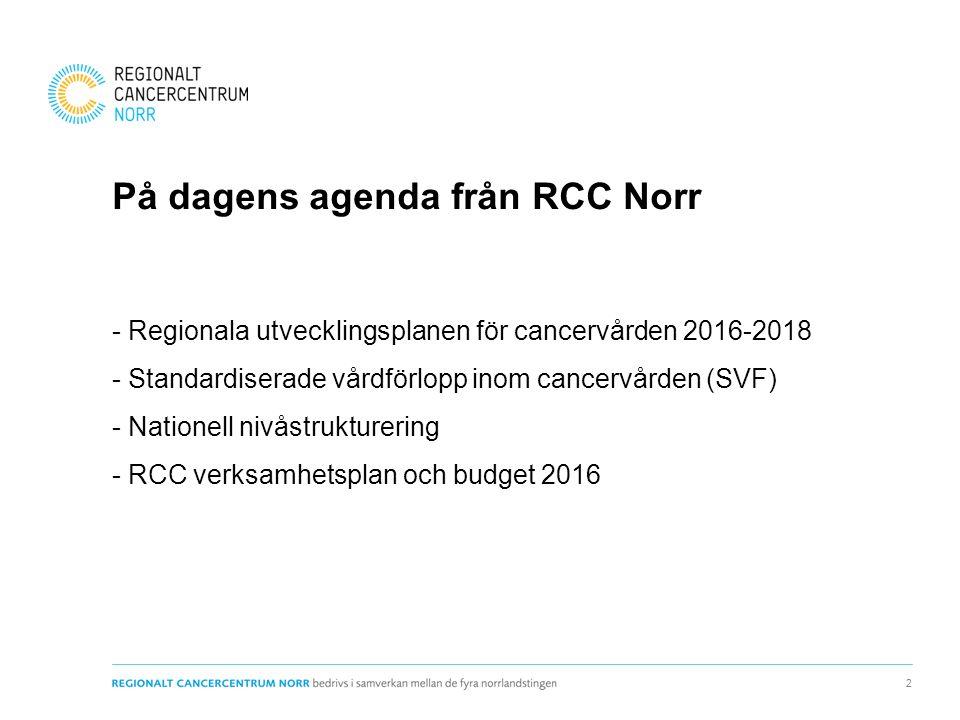 På dagens agenda från RCC Norr - Regionala utvecklingsplanen för cancervården 2016-2018 - Standardiserade vårdförlopp inom cancervården (SVF) - Nationell nivåstrukturering - RCC verksamhetsplan och budget 2016 2