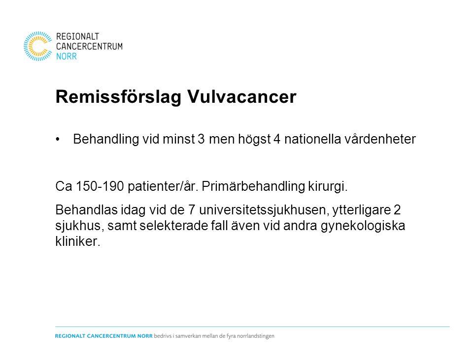 Remissförslag Vulvacancer Behandling vid minst 3 men högst 4 nationella vårdenheter Ca 150-190 patienter/år.