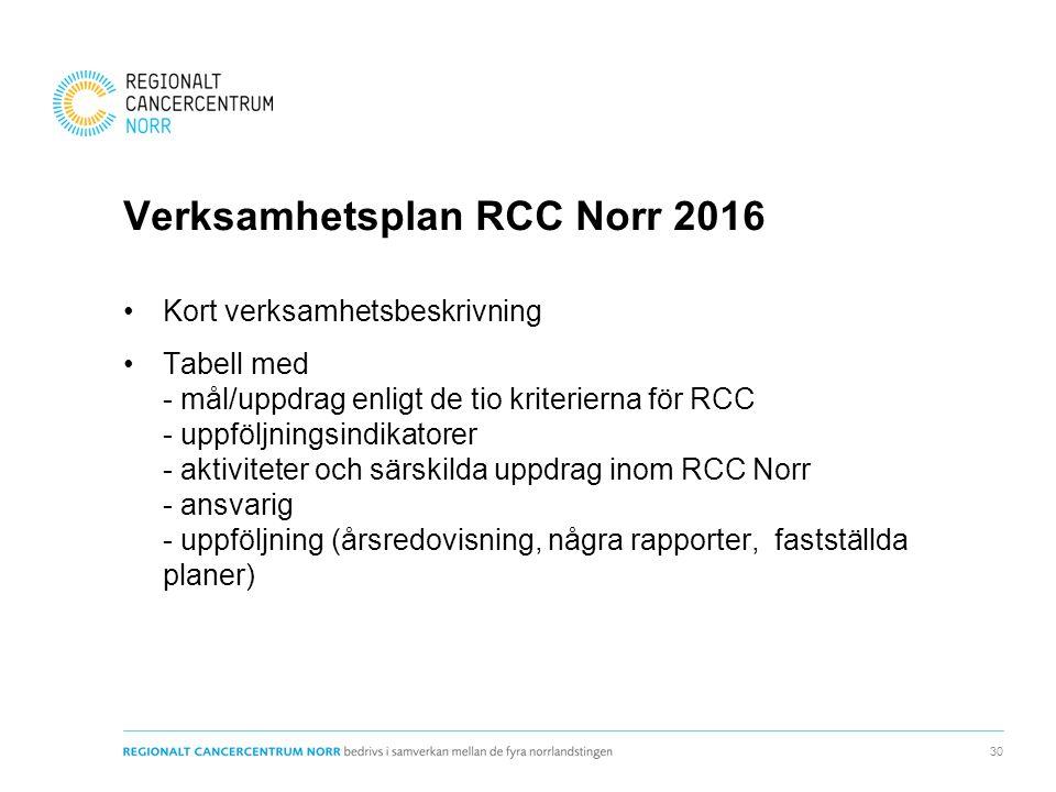 Verksamhetsplan RCC Norr 2016 Kort verksamhetsbeskrivning Tabell med - mål/uppdrag enligt de tio kriterierna för RCC - uppföljningsindikatorer - aktiviteter och särskilda uppdrag inom RCC Norr - ansvarig - uppföljning (årsredovisning, några rapporter, fastställda planer) 30