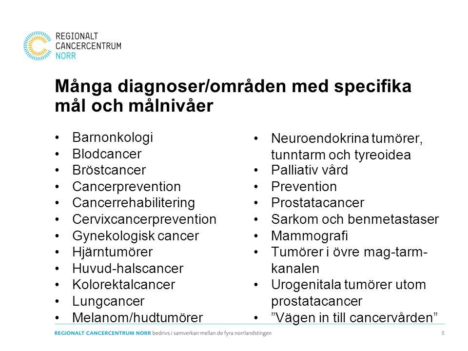Många diagnoser/områden med specifika mål och målnivåer Barnonkologi Blodcancer Bröstcancer Cancerprevention Cancerrehabilitering Cervixcancerprevention Gynekologisk cancer Hjärntumörer Huvud-halscancer Kolorektalcancer Lungcancer Melanom/hudtumörer Neuroendokrina tumörer, tunntarm och tyreoidea Palliativ vård Prevention Prostatacancer Sarkom och benmetastaser Mammografi Tumörer i övre mag-tarm- kanalen Urogenitala tumörer utom prostatacancer Vägen in till cancervården 5