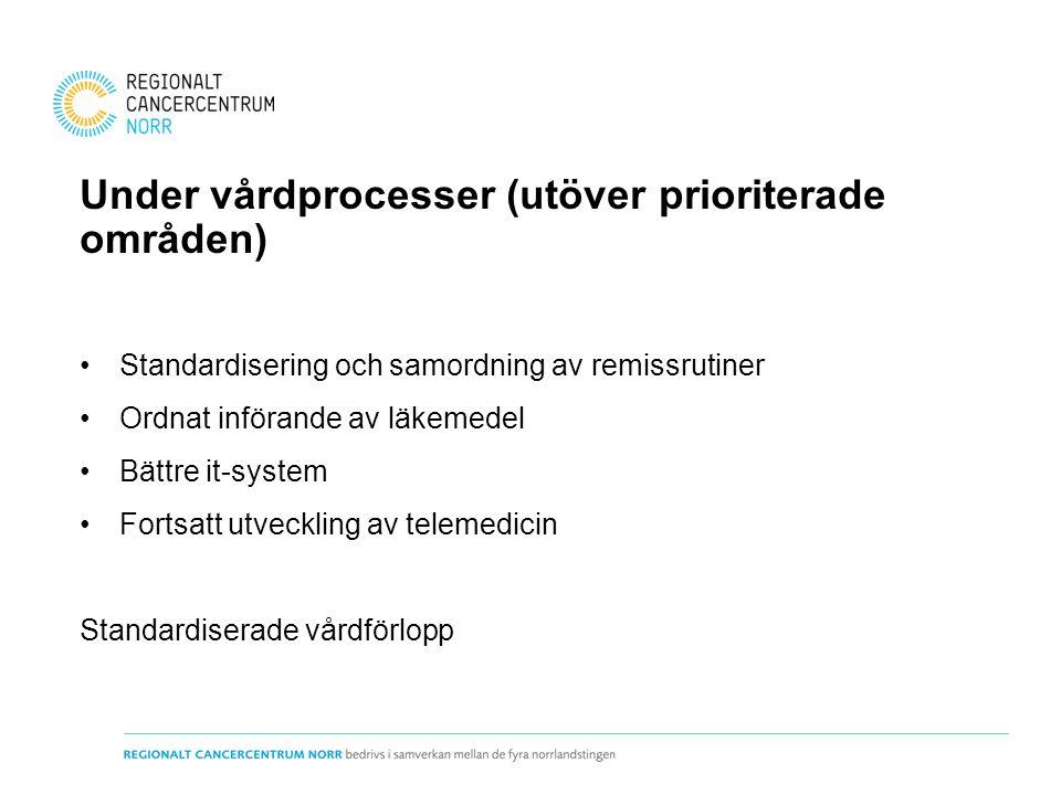 Under vårdprocesser (utöver prioriterade områden) Standardisering och samordning av remissrutiner Ordnat införande av läkemedel Bättre it-system Fortsatt utveckling av telemedicin Standardiserade vårdförlopp