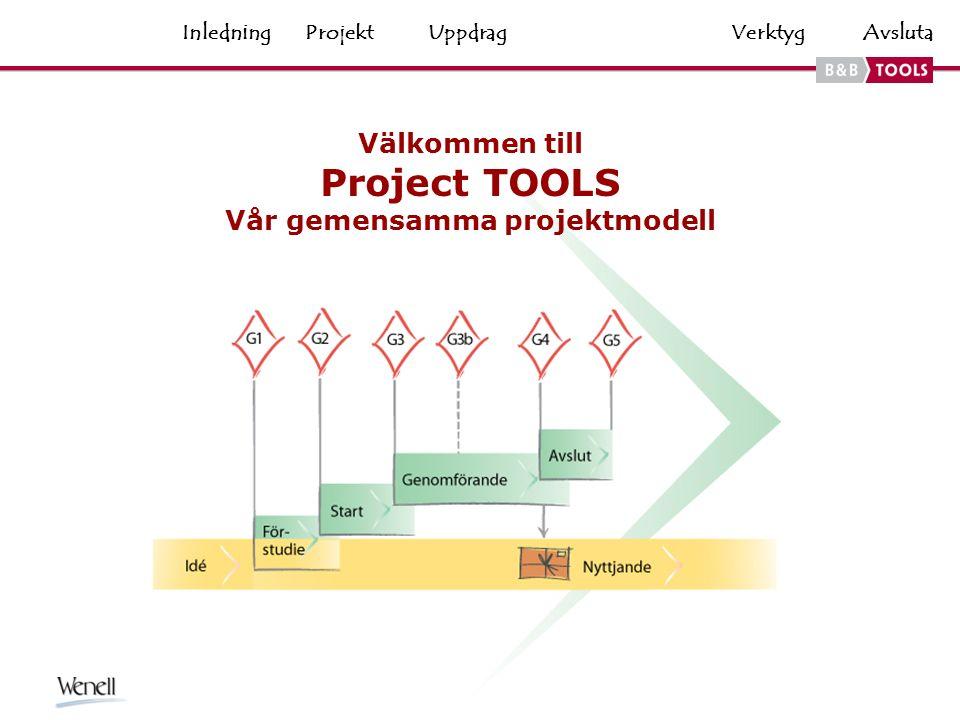 VerktygHemAvsluta Välkommen till Project TOOLS Vår gemensamma projektmodell ProjektUppdragInledning