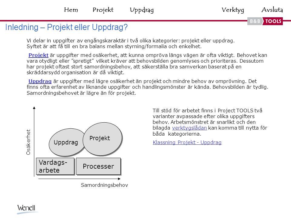 VerktygHemAvsluta Vi delar in uppgifter av engångskaraktär i två olika kategorier: projekt eller uppdrag.