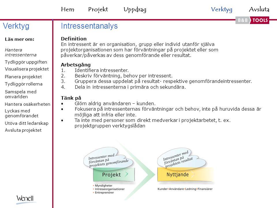 HemAvsluta Definition En intressent är en organisation, grupp eller individ utanför själva projektorganisationen som har förväntningar på projektet eller som påverkar/påverkas av dess genomförande eller resultat.