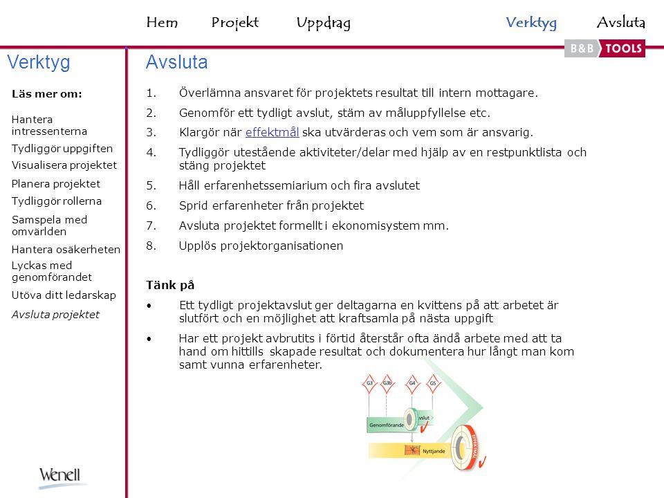 HemAvsluta 1.Överlämna ansvaret för projektets resultat till intern mottagare.