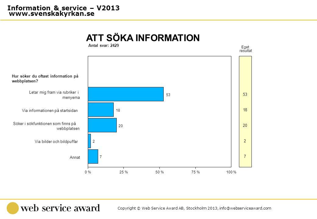 Copyright © Web Service Award AB, Stockholm 2013, info@webserviceaward.com Antal svar: 2429 ATT SÖKA INFORMATION 0 %25 %50 %75 %100 % Eget resultat Hu