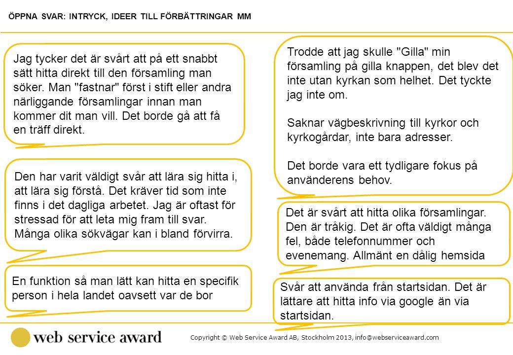 Copyright © Web Service Award AB, Stockholm 2013, info@webserviceaward.com Det är svårt att hitta olika församlingar. Den är tråkig. Det är ofta väldi