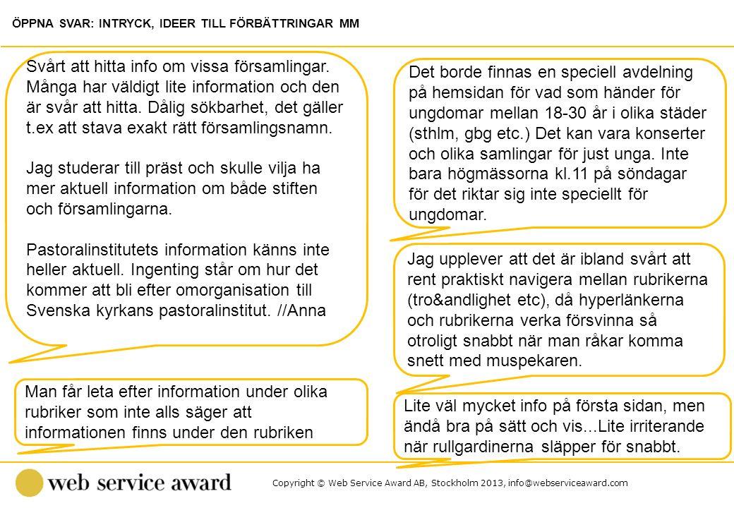 Copyright © Web Service Award AB, Stockholm 2013, info@webserviceaward.com Det borde finnas en speciell avdelning på hemsidan för vad som händer för u