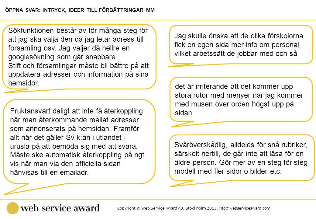 Copyright © Web Service Award AB, Stockholm 2013, info@webserviceaward.com Jag skulle önska att de olika förskolorna fick en egen sida mer info om per