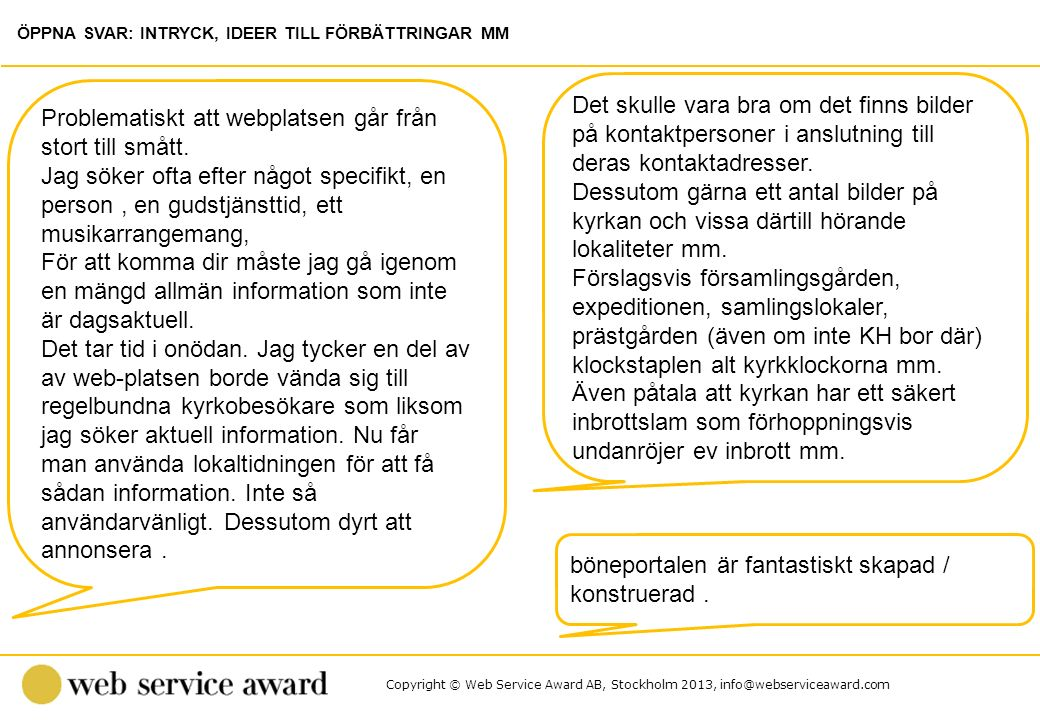Copyright © Web Service Award AB, Stockholm 2013, info@webserviceaward.com Det skulle vara bra om det finns bilder på kontaktpersoner i anslutning til