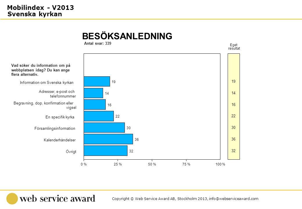 Copyright © Web Service Award AB, Stockholm 2013, info@webserviceaward.com Antal svar: 339 BESÖKSANLEDNING 0 %25 %50 %75 %100 % Eget resultat Vad söke