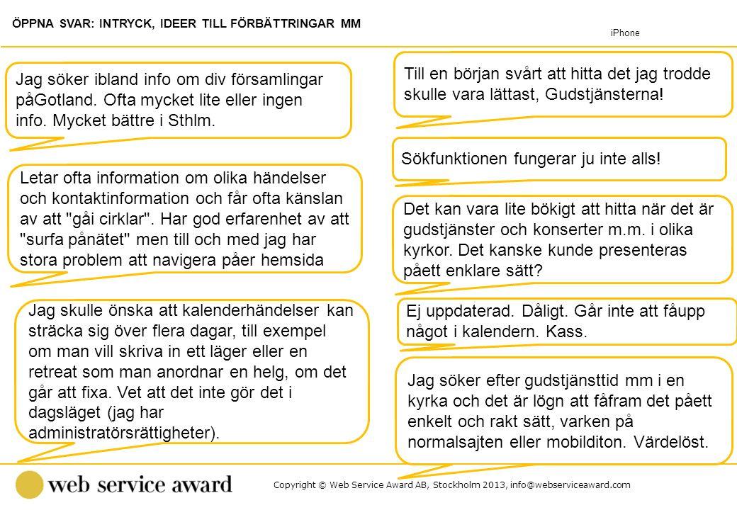 Copyright © Web Service Award AB, Stockholm 2013, info@webserviceaward.com Sökfunktionen fungerar ju inte alls! Jag söker ibland info om div församlin