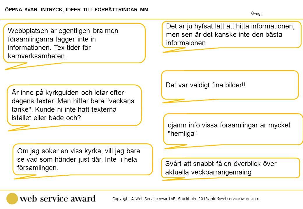 Copyright © Web Service Award AB, Stockholm 2013, info@webserviceaward.com Det var väldigt fina bilder!! Webbplatsen är egentligen bra men församlinga