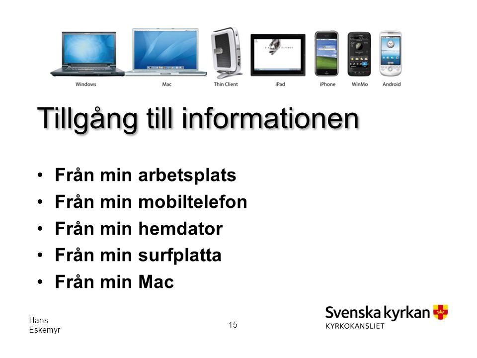 Tillgång till informationen Från min arbetsplats Från min mobiltelefon Från min hemdator Från min surfplatta Från min Mac Hans Eskemyr 15