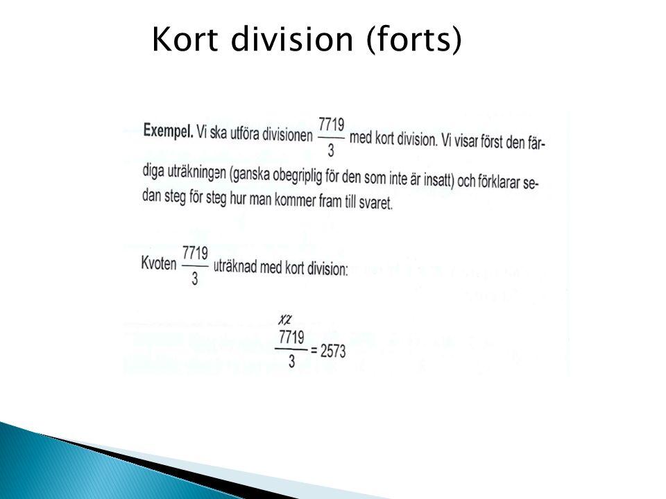 Kort division (forts)