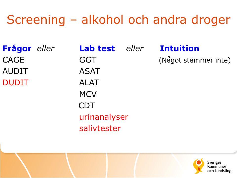 Screening – alkohol och andra droger Frågor eller Lab test eller Intuition CAGE GGT (Något stämmer inte) AUDIT ASAT DUDIT ALAT MCV CDT urinanalyser salivtester