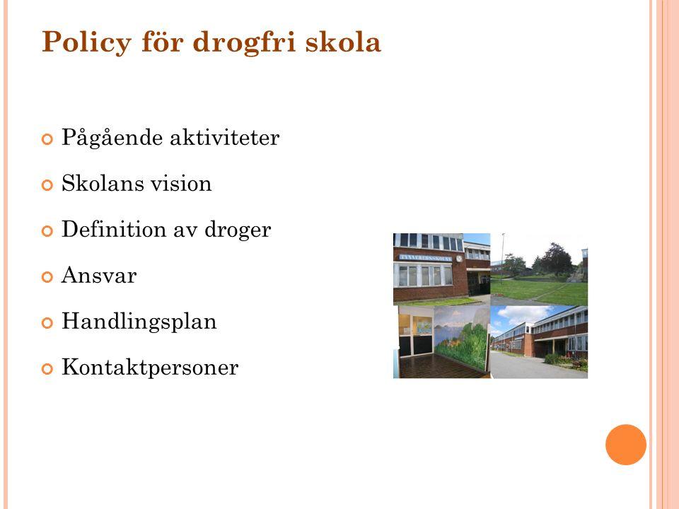 Policy för drogfri skola Pågående aktiviteter Skolans vision Definition av droger Ansvar Handlingsplan Kontaktpersoner