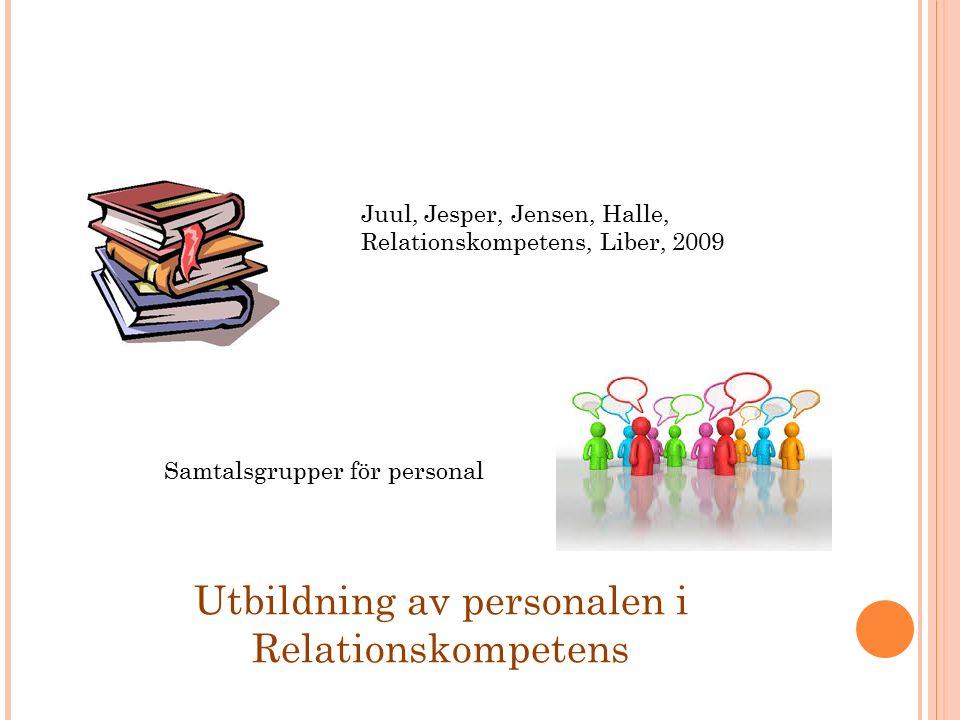 Utbildning av personalen i Relationskompetens Juul, Jesper, Jensen, Halle, Relationskompetens, Liber, 2009 Samtalsgrupper för personal