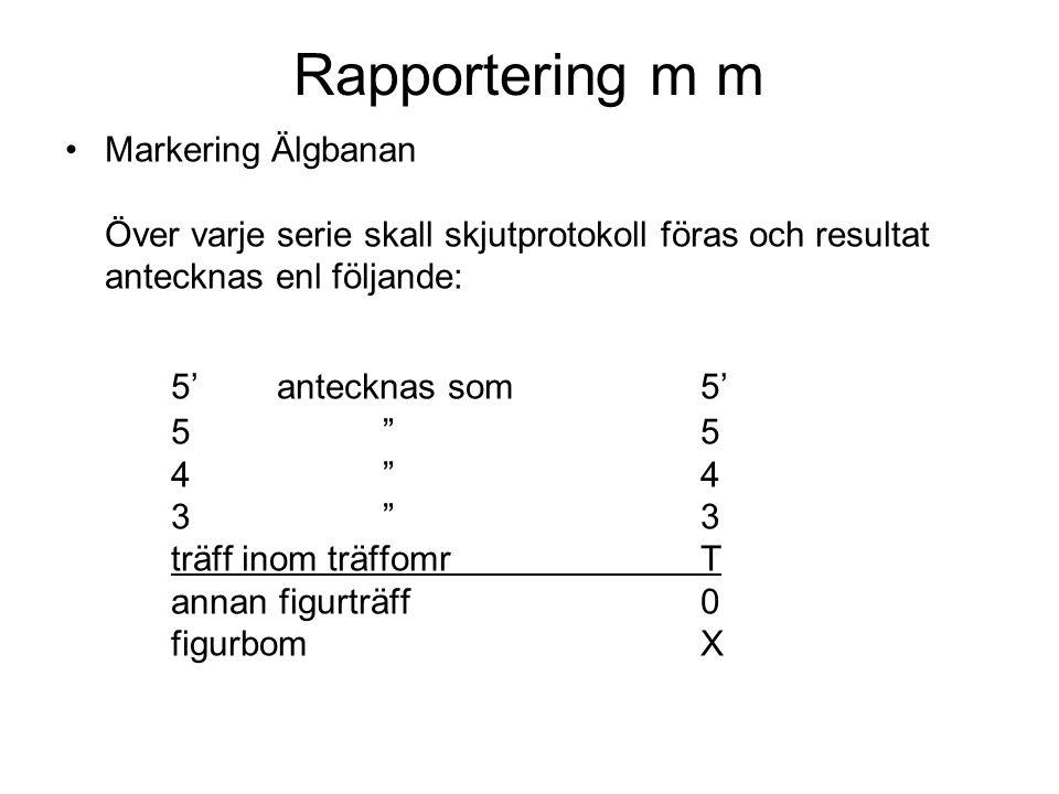 Rapportering m m Markering Älgbanan Över varje serie skall skjutprotokoll föras och resultat antecknas enl följande: 5'antecknas som5' 5 5 4 4 3 3 träff inom träffomrT annan figurträff0 figurbomX