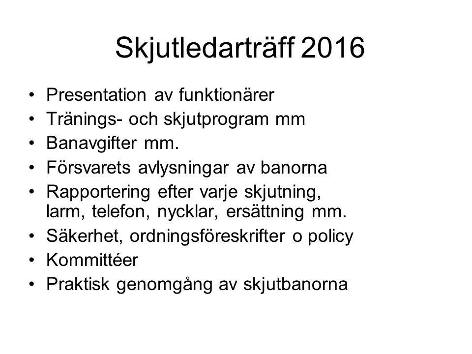 Presentation av funktionärer Tränings- och skjutprogram mm Banavgifter mm.