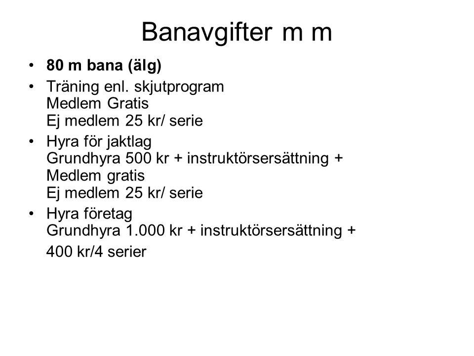Banavgifter m m 80 m bana (älg) Träning enl.