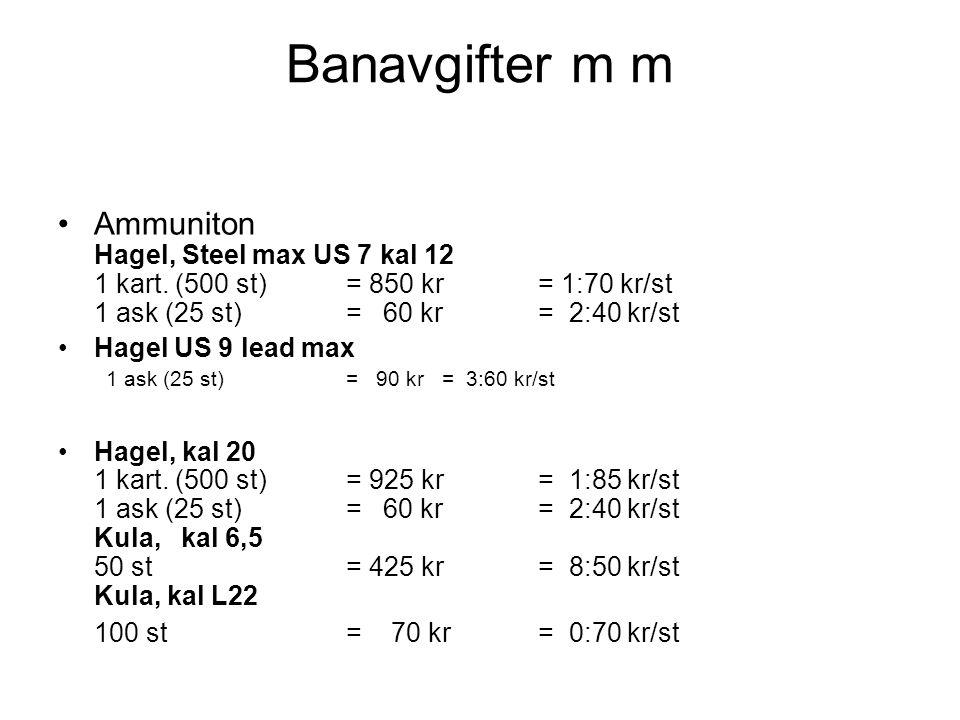Banavgifter m m Ammuniton Hagel, Steel max US 7 kal 12 1 kart.