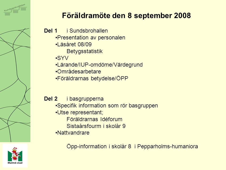 Föräldramöte den 8 september 2008 Del 1i Sundsbrohallen Presentation av personalen Läsåret 08/09 Betygsstatistik SYV Lärande/IUP-omdöme/Värdegrund Områdesarbetare Föräldrarnas betydelse/ÖPP Del 2i basgrupperna Specifik information som rör basgruppen Utse representant; Föräldrarnas Idéforum Sistaårsfourm i skolår 9 Nattvandrare Öpp-information i skolår 8 i Pepparholms-humaniora