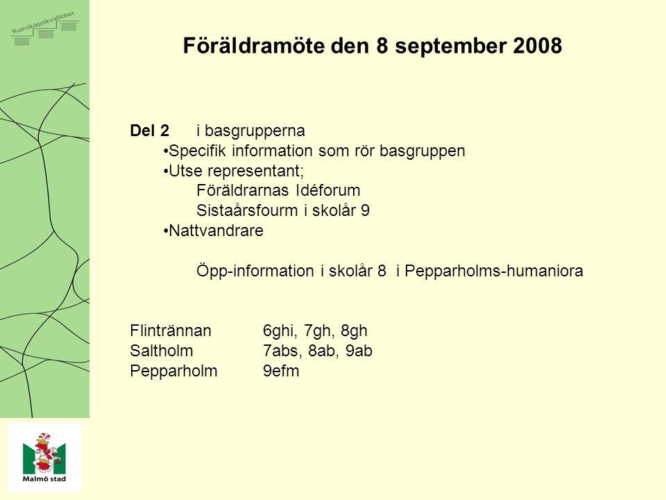 Föräldramöte den 8 september 2008 Del 2i basgrupperna Specifik information som rör basgruppen Utse representant; Föräldrarnas Idéforum Sistaårsfourm i skolår 9 Nattvandrare Öpp-information i skolår 8 i Pepparholms-humaniora Flintrännan6ghi, 7gh, 8gh Saltholm7abs, 8ab, 9ab Pepparholm9efm