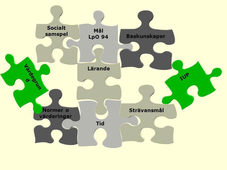 IUP Tid Strävansmål Lärande Mål LpO 94 Baskunskaper Normer o värderingar Socialt samspel Värdegrun d