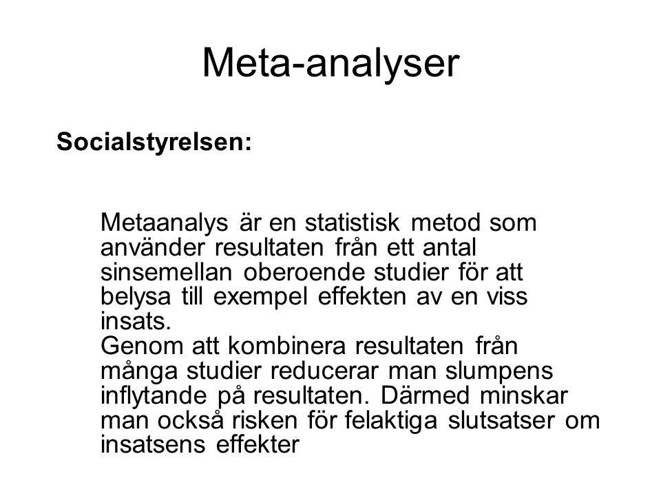 Meta-analyser Socialstyrelsen: Metaanalys är en statistisk metod som använder resultaten från ett antal sinsemellan oberoende studier för att belysa till exempel effekten av en viss insats.