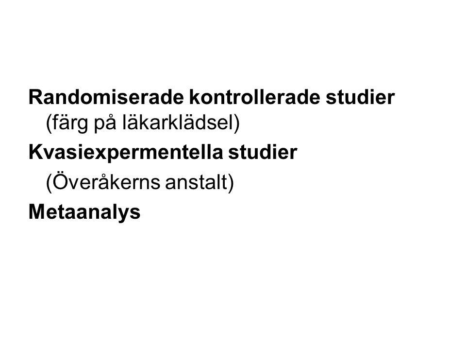 Randomiserade kontrollerade studier (färg på läkarklädsel) Kvasiexpermentella studier (Överåkerns anstalt) Metaanalys