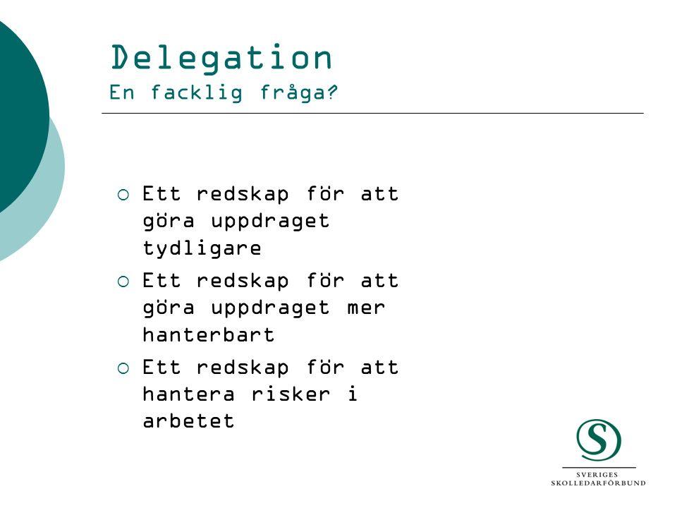 Delegation En facklig fråga?  Ett redskap för att göra uppdraget tydligare  Ett redskap för att göra uppdraget mer hanterbart  Ett redskap för att