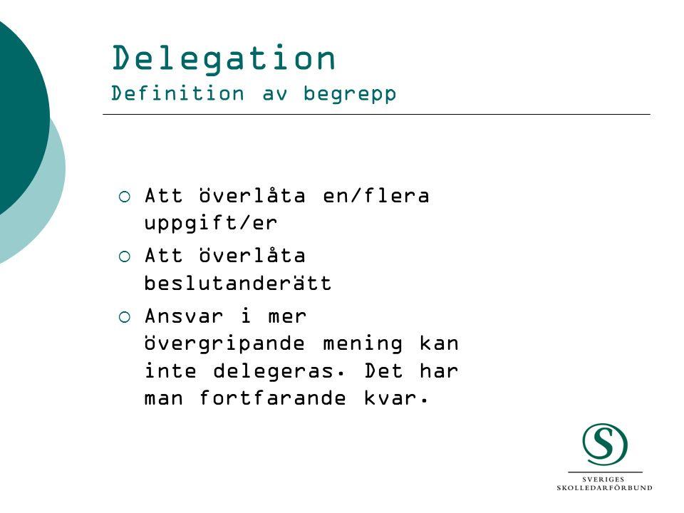 Delegation Definition av begrepp  Att överlåta en/flera uppgift/er  Att överlåta beslutanderätt  Ansvar i mer övergripande mening kan inte delegera
