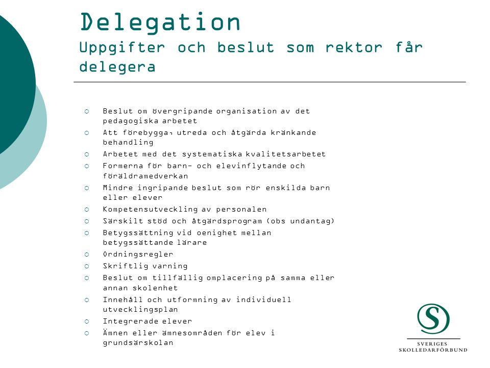 Delegation Uppgifter och beslut som rektor får delegera  Beslut om övergripande organisation av det pedagogiska arbetet  Att förebygga, utreda och å