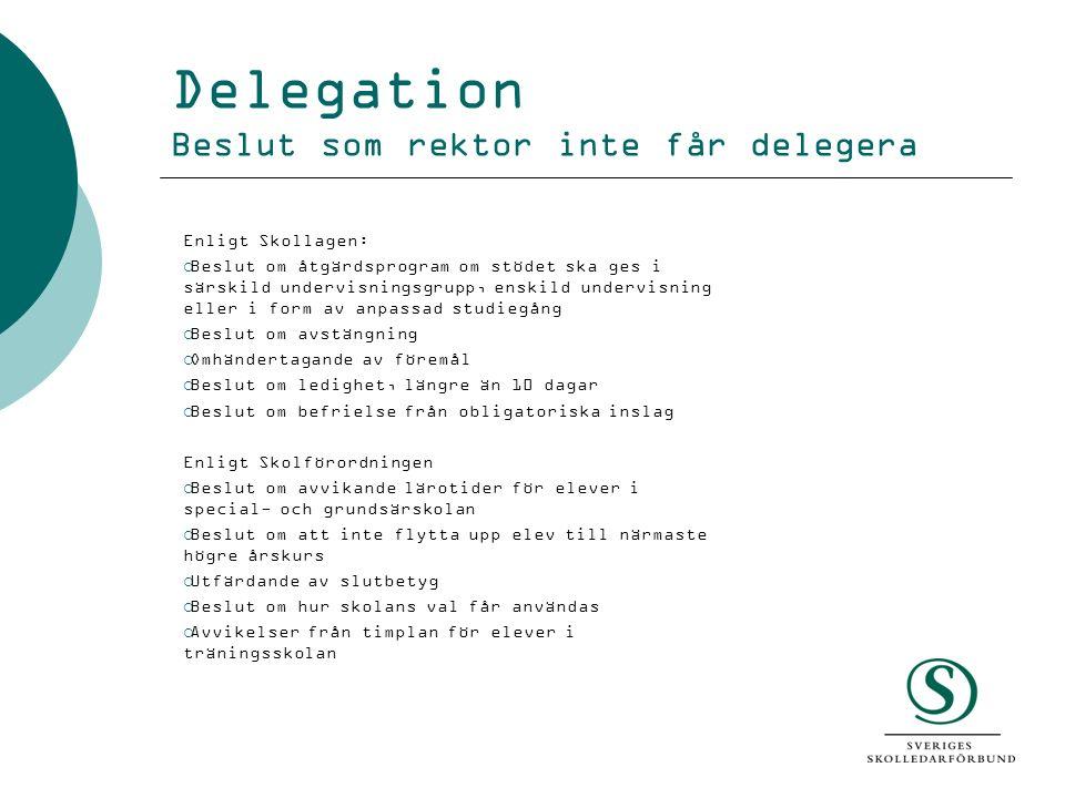 Delegation Beslut som rektor inte får delegera Enligt Skollagen:  Beslut om åtgärdsprogram om stödet ska ges i särskild undervisningsgrupp, enskild u