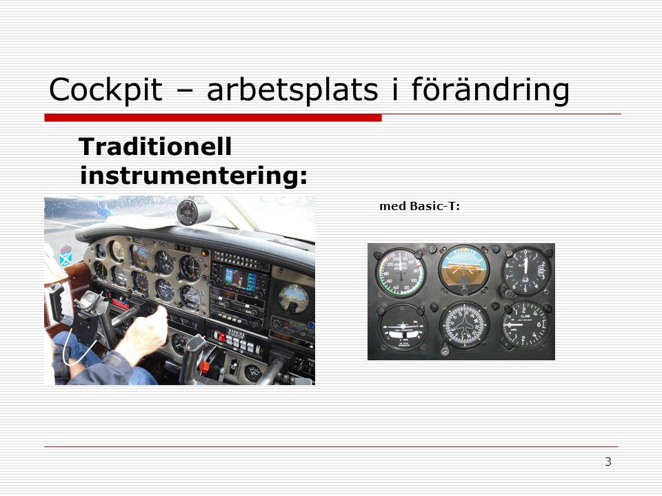 3 Cockpit – arbetsplats i förändring Traditionell instrumentering: med Basic-T: