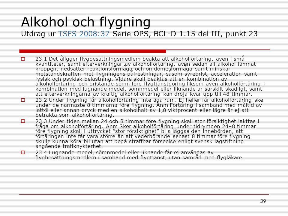 39 Alkohol och flygning Utdrag ur TSFS 2008:37 Serie OPS, BCL-D 1.15 del III, punkt 23TSFS 2008:37  23.1 Det åligger flygbesättningsmedlem beakta att alkoholförtäring, även i små kvantiteter, samt efterverkningar av alkoholförtäring, även sedan all alkohol lämnat kroppen, nedsätter reaktionsförmåga och omdömesförmåga samt minskar motståndskraften mot flygningens påfrestningar, såsom syrebrist, acceleration samt fysisk och psykisk belastning.