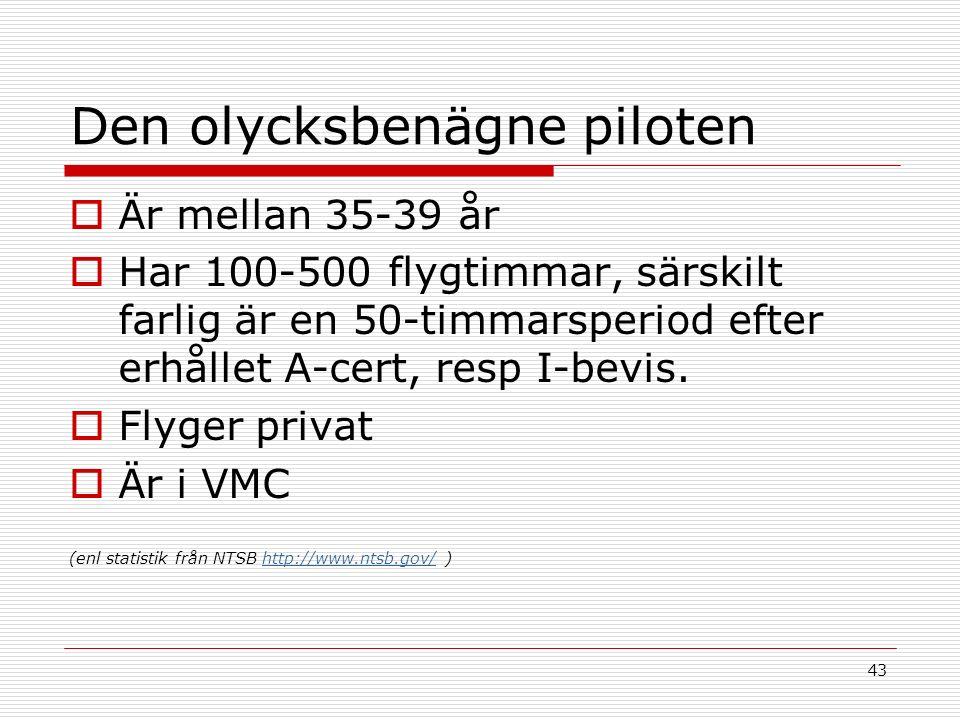 43 Den olycksbenägne piloten  Är mellan 35-39 år  Har 100-500 flygtimmar, särskilt farlig är en 50-timmarsperiod efter erhållet A-cert, resp I-bevis.