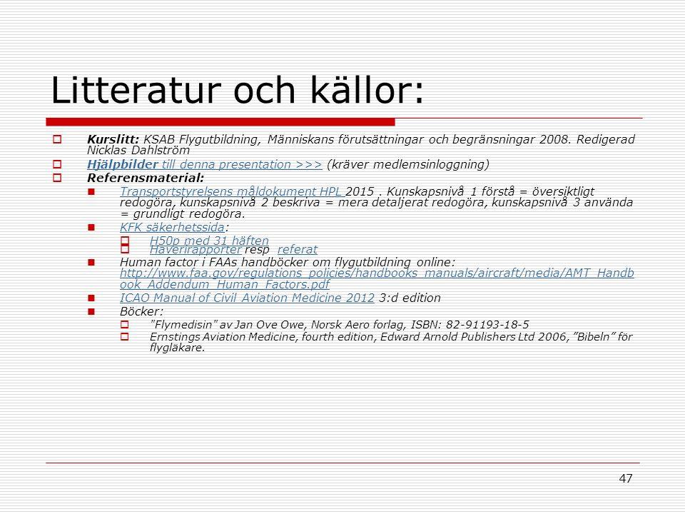 47 Litteratur och källor:  Kurslitt: KSAB Flygutbildning, Människans förutsättningar och begränsningar 2008.