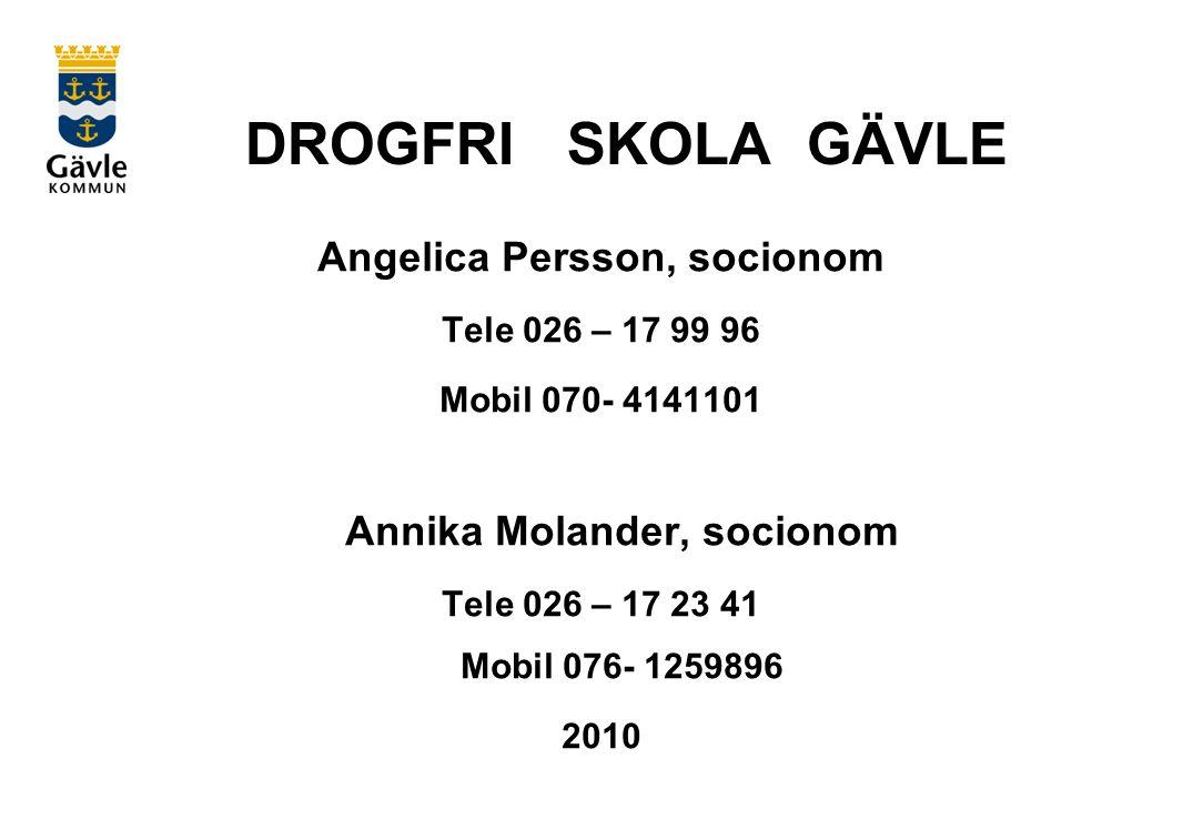 DROGFRI SKOLA GÄVLE Angelica Persson, socionom Tele 026 – 17 99 96 Mobil 070- 4141101 Annika Molander, socionom Tele 026 – 17 23 41 Mobil 076- 1259896 2010