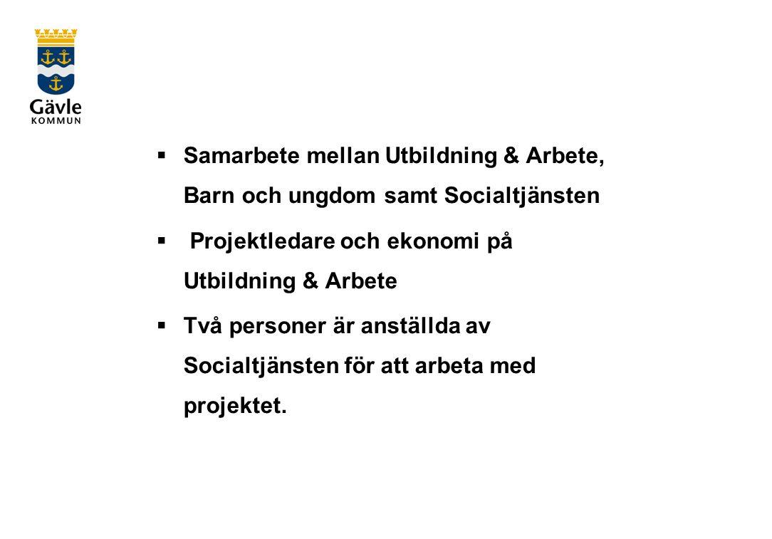  Samarbete mellan Utbildning & Arbete, Barn och ungdom samt Socialtjänsten  Projektledare och ekonomi på Utbildning & Arbete  Två personer är anställda av Socialtjänsten för att arbeta med projektet.