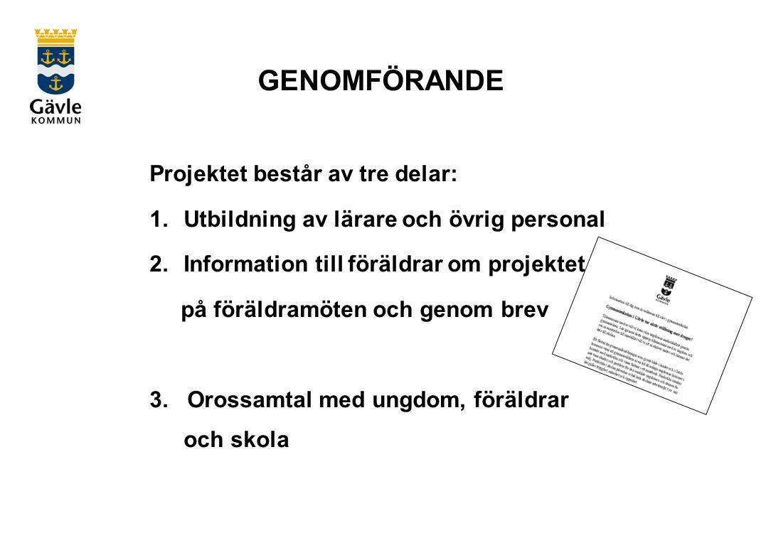 GENOMFÖRANDE Projektet består av tre delar: 1.Utbildning av lärare och övrig personal 2.Information till föräldrar om projektet på föräldramöten och genom brev 3.