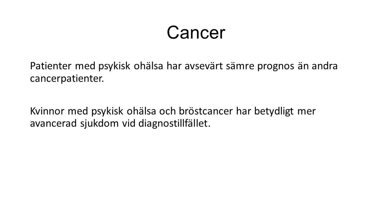Cancer Patienter med psykisk ohälsa har avsevärt sämre prognos än andra cancerpatienter.
