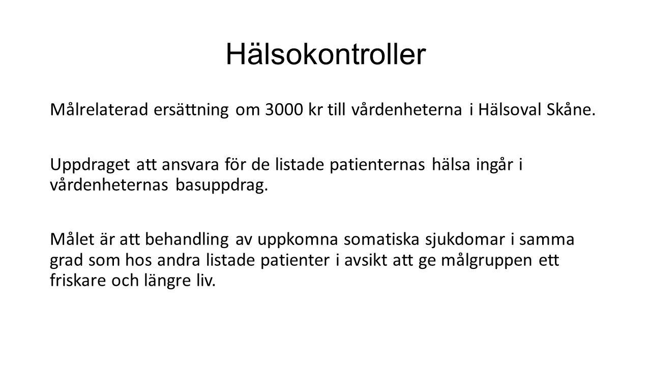 Hälsokontroller Målrelaterad ersättning om 3000 kr till vårdenheterna i Hälsoval Skåne.