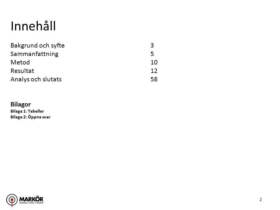 2 Bakgrund och syfte3 Sammanfattning5 Metod10 Resultat12 Analys och slutats58 Bilagor Bilaga 1: Tabeller Bilaga 2: Öppna svar Innehåll