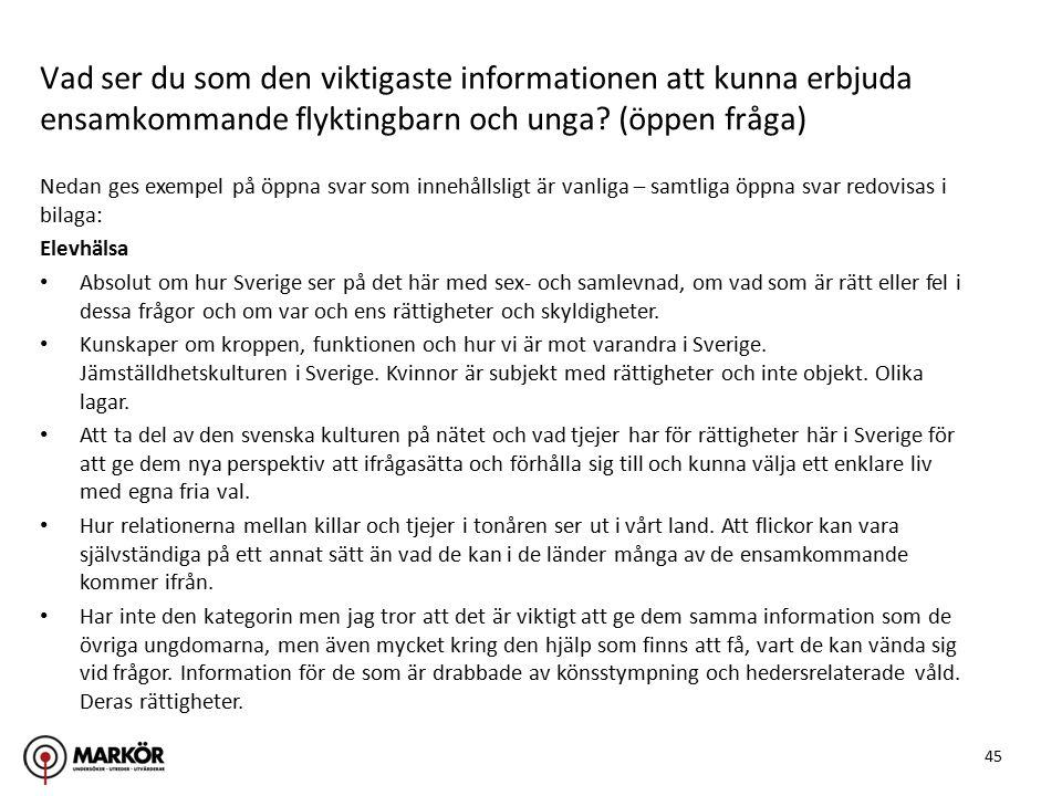 45 Nedan ges exempel på öppna svar som innehållsligt är vanliga – samtliga öppna svar redovisas i bilaga: Elevhälsa Absolut om hur Sverige ser på det