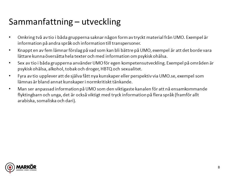 8 Omkring två av tio i båda grupperna saknar någon form av tryckt material från UMO.