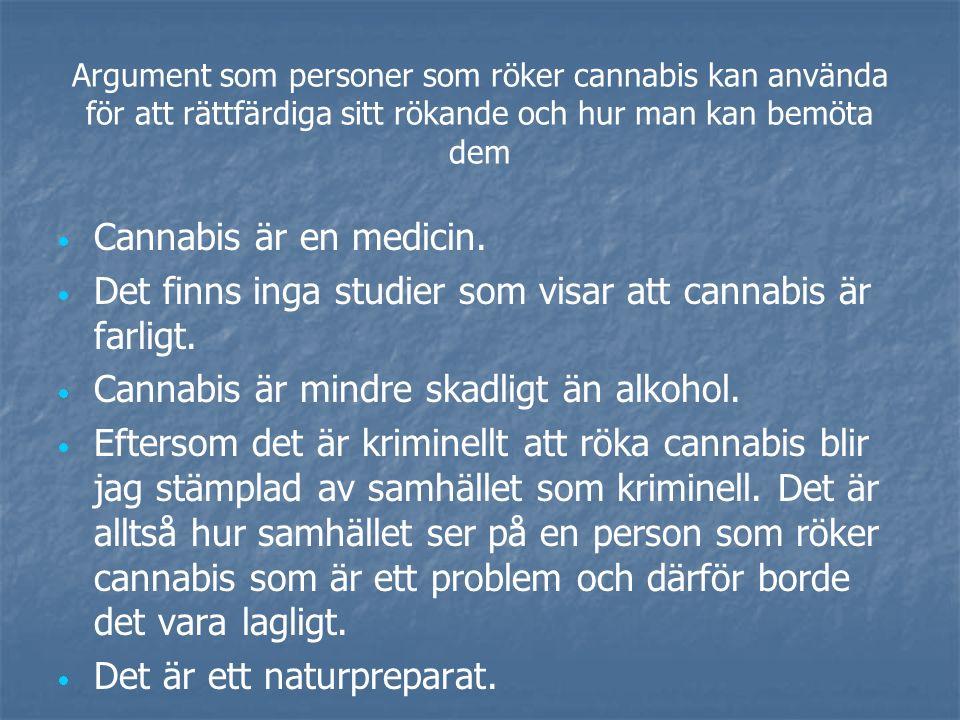 Argument som personer som röker cannabis kan använda för att rättfärdiga sitt rökande och hur man kan bemöta dem   Cannabis är en medicin.